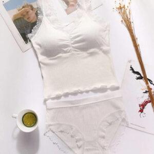Lace Crop Top Bra Brief Set Pakistan